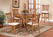 Bayberry 5-Piece Round Dining Set - Oak - THD3798