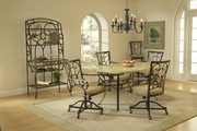 Brookside 5-Piece Rectangle Dining Set w/Oval Back Caster Chairs - THD3860
