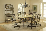Brookside 7-Piece Rectangle Dining Set w/Oval Back Caster Chairs - THD3862