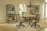 Brookside 5-Piece Round Dining Set w/Oval Back Caster Chairs - THD3878