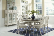 Pine Island 7PC Round Dining Set with Wheat Back Chairs - THD4518