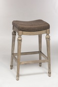 Vetrina Backless Non-Swivel Counter Stool with Gray Fabric - THD3606