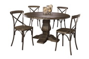 Lorient 5-Piece Round Dining Set with X Back Chairs - THD4218