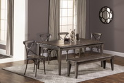 Lorient 6-Piece Rectangle Dining Set with X Back Dining Chair and Bench  - THD4226