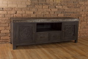 Hundley Entertainment Unit - Distressed Dark Gray Finish - THD4130