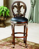 31in Fleur De Lis Triple Leaf Bar Stool With Leather Seat - THD2839