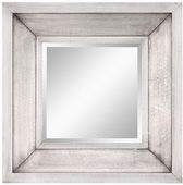 Aqua Pear Square Silver Finish Beveled Mirror by TKC - TKC3384