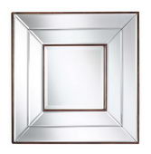 20in Square Frameless Mirror With Bronze Inner/Outer Lining Beveled Mirror - TKC4014